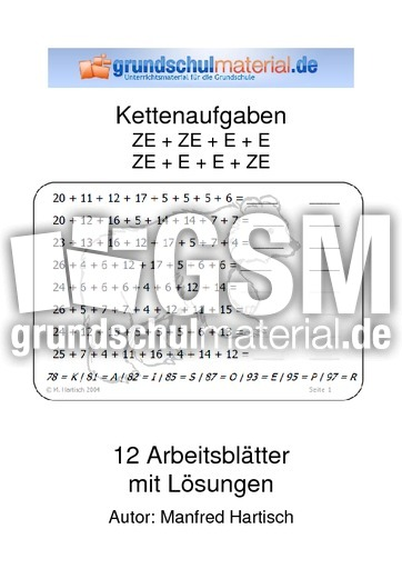 ZE + ZE + E - Kettenaufgaben - Arbeitsblätter - Mathe Klasse 2 ...