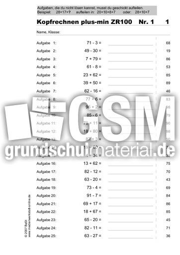 Kopfrechnen-30Seiten-plus-minus ZR 100 - Übungsmaterial ...