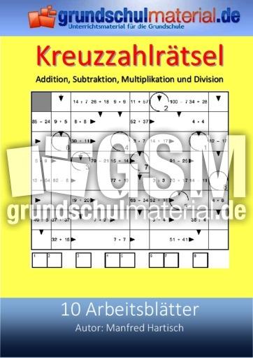 addition subtraktion multiplikation division kreuzzahlr tsel arbeitsbl tter mathe klasse 2. Black Bedroom Furniture Sets. Home Design Ideas
