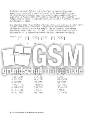 Addition_Subtraktion_Multiplikation_Division - Kreuzzahlrätsel ...