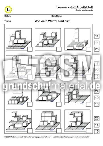 Würfel-Anzahl Bl-3 ZR25 - Arbeitsblätter - Würfel - Lernwerkstatt ...