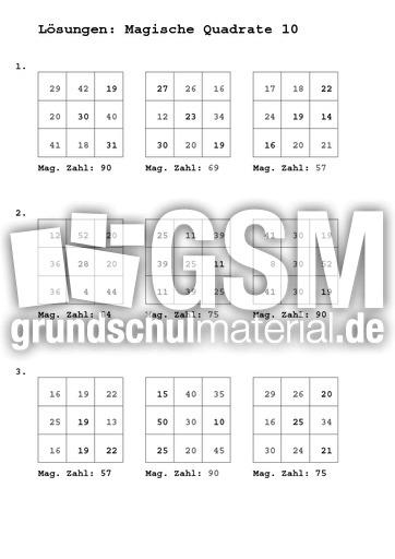 Magische Quadrate Loesung - Magische Quadrate 3x3 - Arbeitsblätter ...