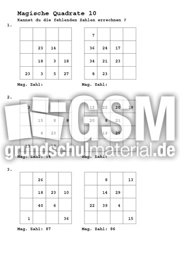 Magische Quadrate B 10 - Magische Quadrate 4x4 - Arbeitsblätter ...
