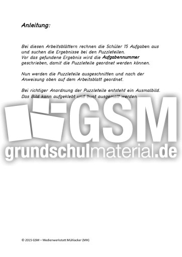 Multiplikation - Puzzle Bilder - Arbeitsblätter - Mathe Klasse 2 ...