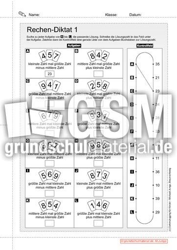 Rechen-Diktat B2 - Rechen-Diktat - Arbeitsblätter - Mathe Klasse 2 ...