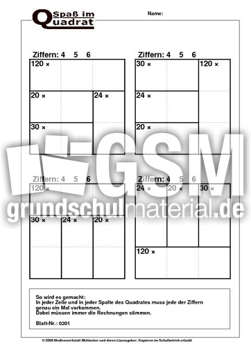 Rechenquadrat Malaufgaben (456) - Rechenquadrate plus - mal ...