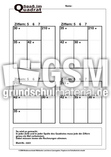 Rechenquadrat Malaufgaben (567) - Rechenquadrate plus - mal ...