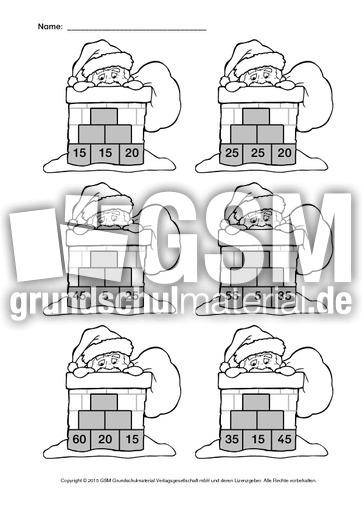 Zr 100 Nikolaus Zahlenmauer 2 Weihnachtsrechnen Arbeitsblätter
