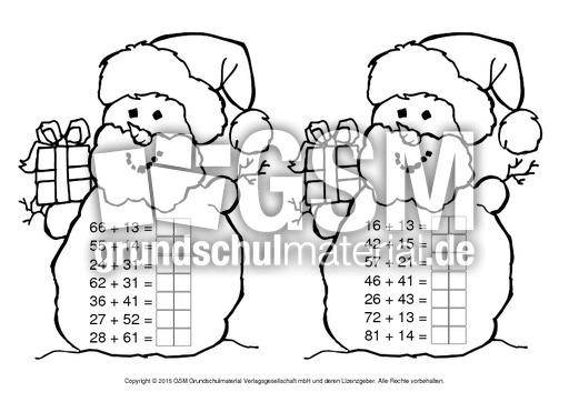 zr 100 schneemann addition weihnachtsrechnen arbeitsbl tter mathe klasse 2. Black Bedroom Furniture Sets. Home Design Ideas