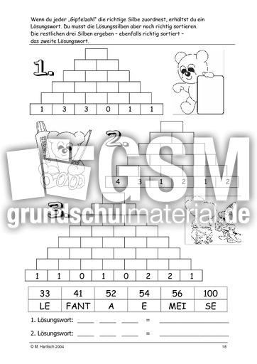 Zahlenmauer B 18 - Zahlenmauern B - Zahlenmauer - Arbeitsblätter ...