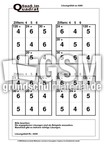 Rechenquadrat Malaufgaben (456) - Rechenquadrate plus - mal - Arbeitsblu00e4tter - Mathe Klasse 2 ...