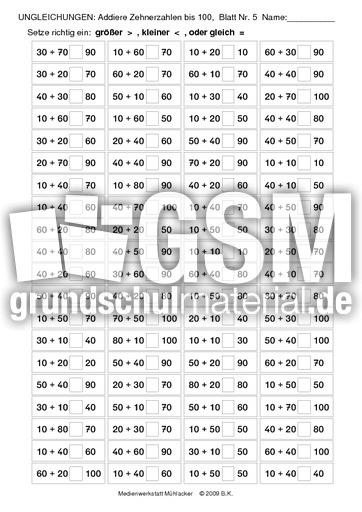 Ungleichungen_addieren_Zehnerzahlen_bis_100_Nr_05 - Ungleichungen - Addition - 100 ...