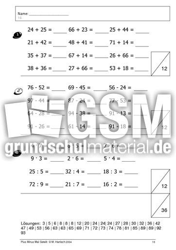 Plus Minus Mal Geteilt 06 - gemischte u00dcbungen - Arbeitsblu00e4tter - Mathe Klasse 2 ...