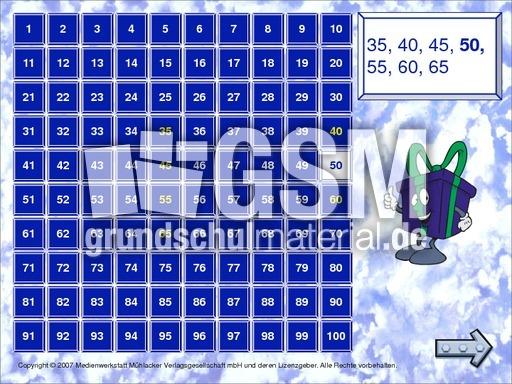 Zahlenfolgen-1A - Zahlenraum 100 Hunderterfeld - Computeru00fcbungen - Mathe Klasse 2 ...