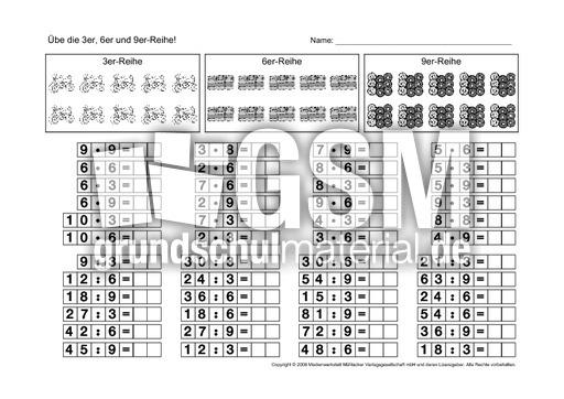 ab 3 6 9 reihe 2 3 6 9 reihe arbeitsb tter 1x1 1x1 einf hrung einmaleins 1x1 mathe. Black Bedroom Furniture Sets. Home Design Ideas