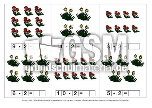 Tulpen-Einmaleinskartei-1-21 - 1x1-Tulpen - Einmaleins - 1x1 - Mathe Klasse 2 ...