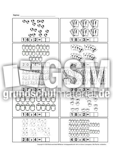 Geteilt Aufgaben 4 Division Arbeitsblätter Einmaleins 1x1