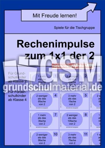 Arbeitsblatt Vorschule fotokartei aufnahme : Rechenimpulse zum 1x1 der 2-4 - Einmaleins 1x1-Lernhefte ...