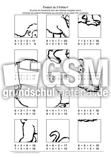 Affe - Fehlerpuzzle E+E+E - Fehlerpuzzle - Mathe Klasse 2 ...