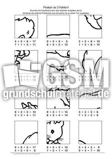 Arbeitsblatt Eichhörnchen Klasse 2 : Eichhörnchen fehlerpuzzle e mathe