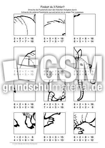 Gürteltier - Fehlerpuzzle E+E+E - Fehlerpuzzle - Mathe Klasse 2 ...