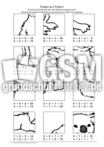 Koala - Fehlerpuzzle E+E+E - Fehlerpuzzle - Mathe Klasse 2 ...