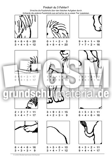 Löwe - Fehlerpuzzle E+E+E - Fehlerpuzzle - Mathe Klasse 2 ...