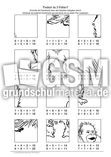 Orang Utan - Fehlerpuzzle E+E+E - Fehlerpuzzle - Mathe Klasse 2 ...
