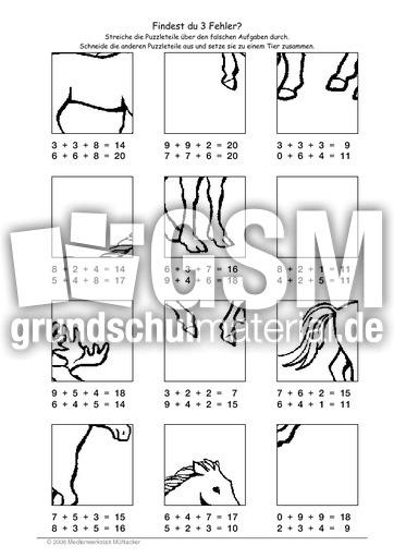 Pferd - Fehlerpuzzle E+E+E - Fehlerpuzzle - Mathe Klasse 2 ...