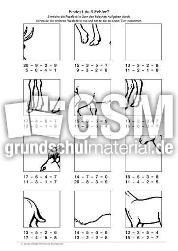 Gazelle - Fehlerpuzzle ZE-E-E - Fehlerpuzzle - Mathe Klasse 2 ...