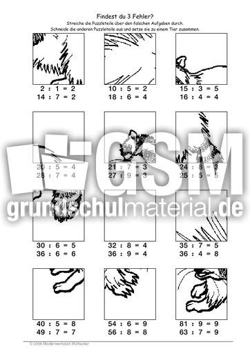 Waschbär - Fehlerpuzzle geteilt - Fehlerpuzzle - Mathe Klasse 2 ...