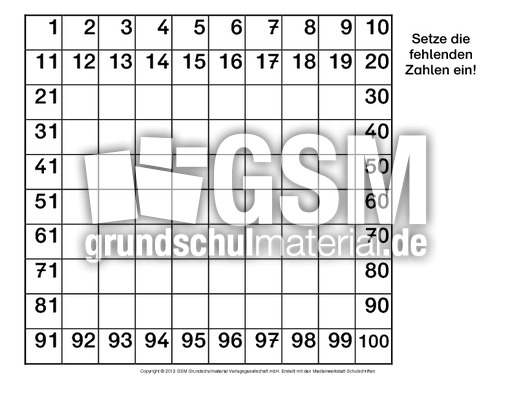 hundertertafel f rdermaterial 1 10 hundertertafeln hundertertafel mathe klasse 2. Black Bedroom Furniture Sets. Home Design Ideas