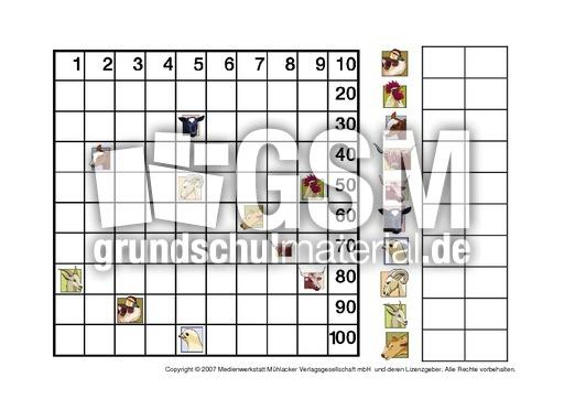Zahlen-suchen-5 - Zahlen suchen - Hundertertafel - Mathe Klasse 2 - Grundschulmaterial.de