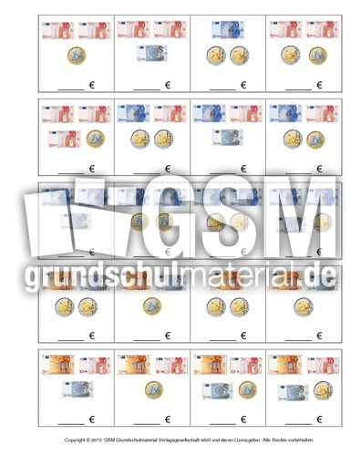 Arbeitsblatt Mathe Rechnen Mit Geld : Geldbeträge euro zr b ab rechnen mit