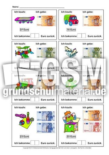 Arbeitsblatt Mathe Rechnen Mit Geld : Rechnen mit geld zr einkaufen geldbeträge