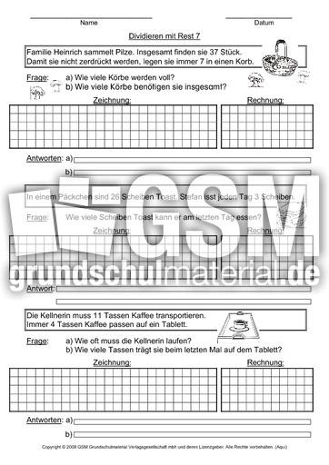 Division mit Rest Sachaufgaben 7 - Arbeitsblätter - Sachaufgaben ...