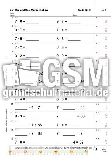 7er8er9er M - Einmaleins - Vielfachtest - Testaufgaben ...