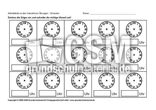 Arbeitsblatt Uhrzeit Klasse : Ab zu uhrzeit blanko interaktive Übungen abs