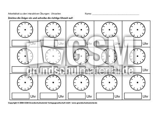 Arbeitsblatt Uhren Blanko : Ab zu uhrzeit blanko interaktive Übungen abs