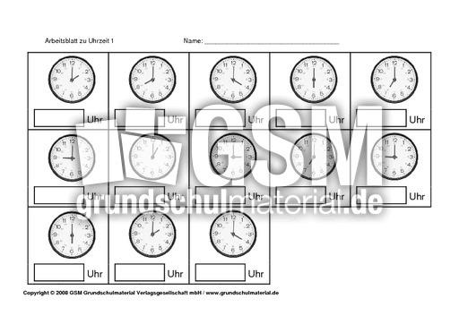 AB-zu-Uhrzeit-1-7 - interaktive u00dcbungen + ABs - Uhrzeit - Mathe Klasse 2 - Grundschulmaterial.de