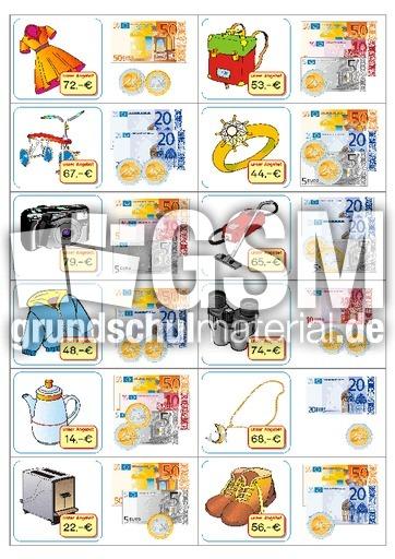 Euro-Domino 2 - Domino Euro - spielerisch rechnen - Mathe Klasse 2 - Grundschulmaterial.de