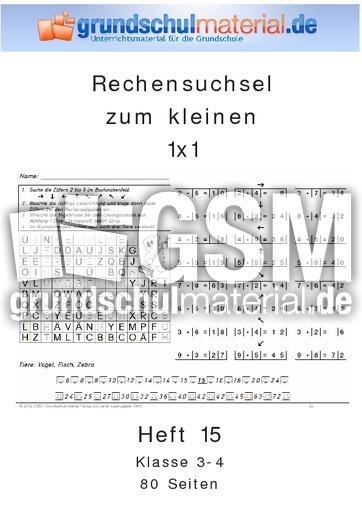 Rechensuchsel 1x1Heft 15 - Mal und Geteilt - 1x1 Training - Mathe ...