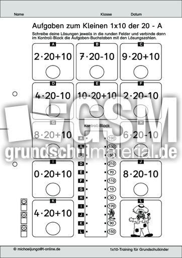 Aufgaben 1x1 Der 20 Level 3 Variation 1 D Zehnereinmaleins