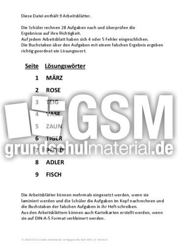 Multiplikation Zehner - Multiplikation - Fehlersuche ...