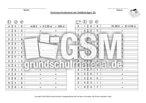 AB Kommaschreibweise bei Geldbeträgen 2 - Geld - Arbeitsblätter ...