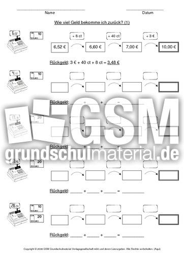 AB Rückgeld 1 - Geld - Arbeitsblätter - Mathe Klasse 3 ...