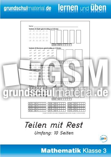 Teilen mit Rest - Geteiltaufgaben - Arbeitsblätter - Mathe Klasse 3 ...