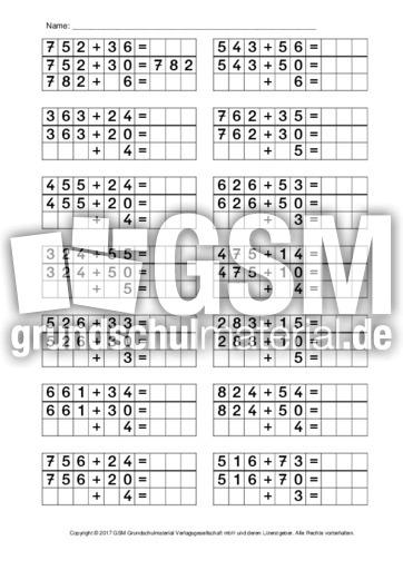 Halbschriftliches Rechnen Arbeitsblätter Mathe Klasse 3