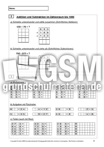 Test Mathe Ende 3. Klasse - standartisierter Test ...