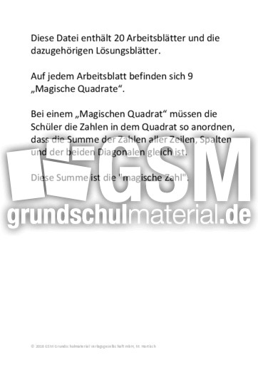 Contemporary Magische Quadrate Arbeitsblatt Pdf Motif - Kindergarten ...